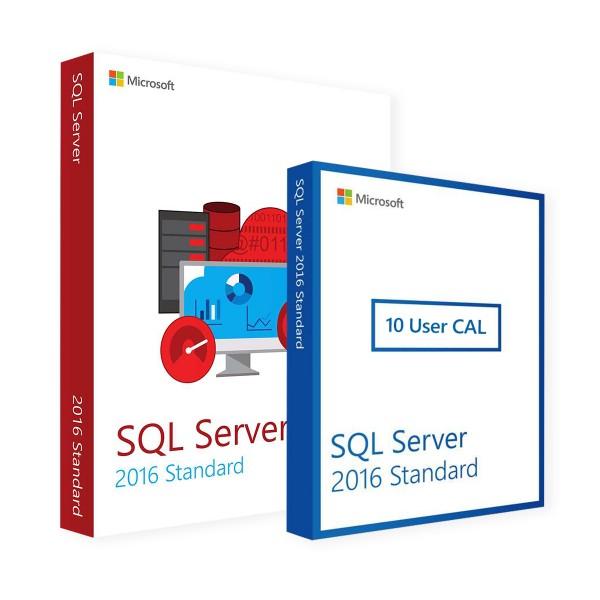 Microsoft SQL Server 2016 Standard & 10 User CALs