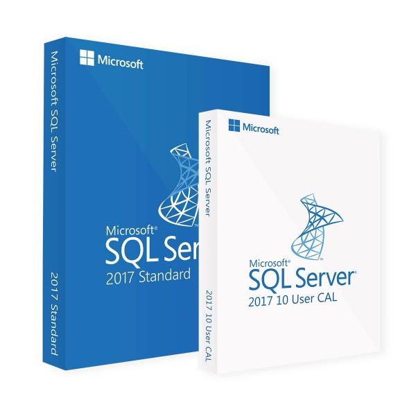 Microsoft SQL Server 2017 Standard & 10 User CALs