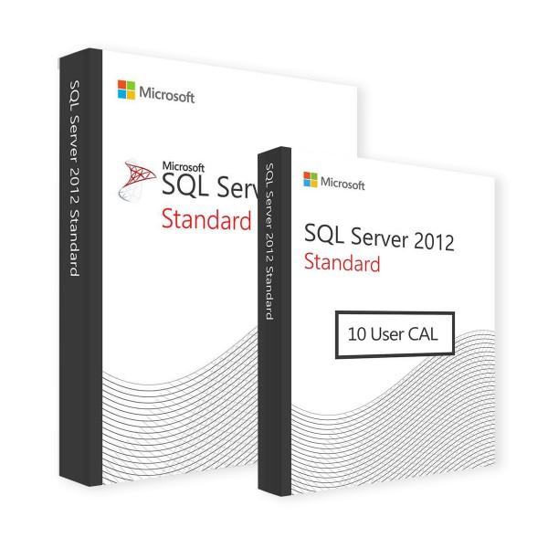Microsoft SQL Server 2012 Standard & 10 User CALs