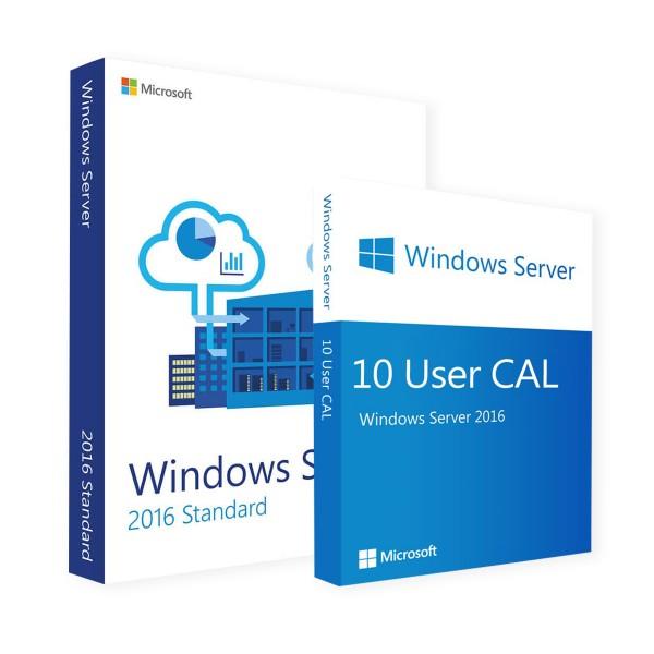 Microsoft Windows Server 2016 Standard 16 Core & 10 User CALs