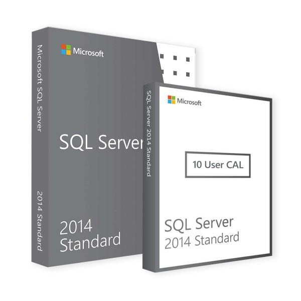 Microsoft SQL Server 2014 Standard & 10 User CALs